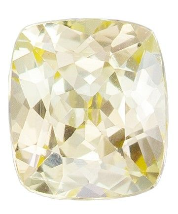 Unique Gem 5.5 x 4.8 mm Sapphire Genuine Gemstone in Cushion Cut, Straw Yellow, 0.78 carats