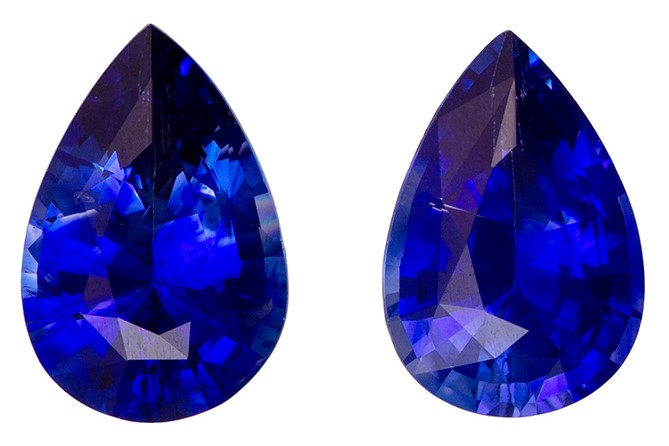 Unique Gem 6 x 4 mm Sapphire Genuine Gemstone Pair in Pear Cut, Vivid Blue, 0.9 carats