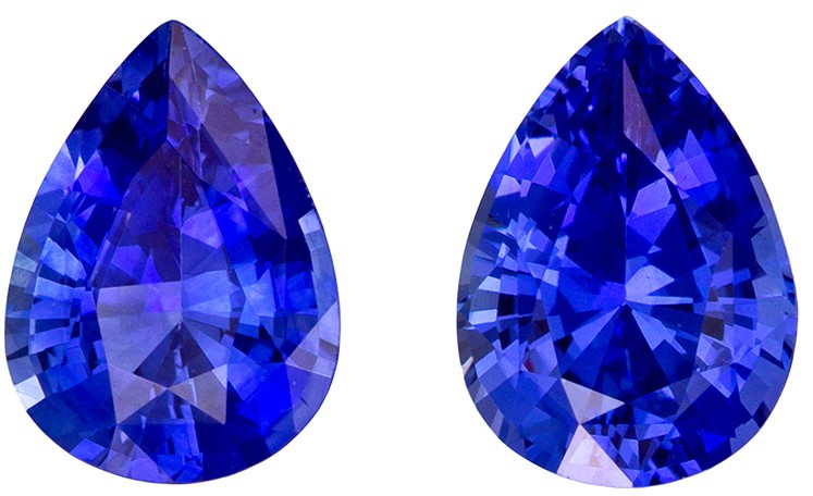 Unique Gem 7 x 5 mm Sapphire Genuine Gemstone Pair in Pear Cut, Vivid Blue, 1.62 carats