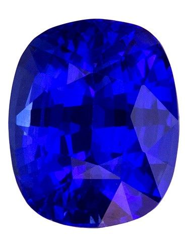 Unique Gem 9 x 7.3 mm Sapphire Loose Genuine Gemstone in Cushion Cut, Intense Blue, 3.03 carats