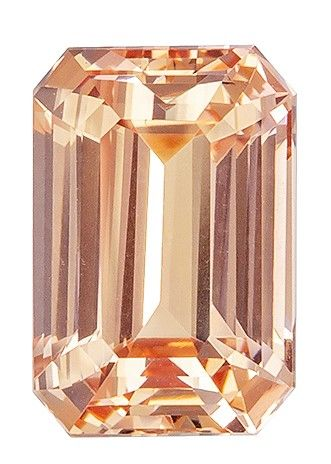 Unique Gem GIA Certified 8.6 x 5.8 mm Sapphire Genuine Gemstone in Emerald Cut, Orangey Peach, 2.53 carats