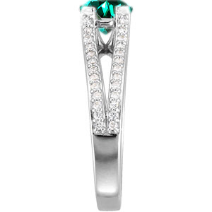 Unique Gem & Mounting - Split Shank 4-Prong Genuine Blue Green Tourmaline Gemstone Engagement Ring - Diamond Accents Along Bands - SOLD