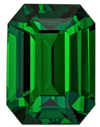 Unique  Green Tsavorite Gemstone, 3.57 carats, Emerald Shape, 9.6 x 7.1 mm, Magnificent Gem