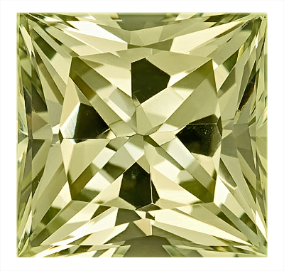 Unique Greenish Yellow Color, Yellow Beryl Nigerian Unheated Gem, Princess Cut, 12.9 x 12.7 mm, 9.57 carats