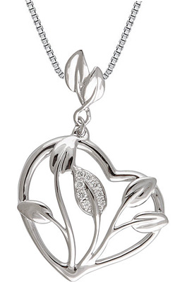 Unique Heart Frame Leafy Motif Pendant With .05ct Pave Diamond Accents for SALE - 14k White Gold