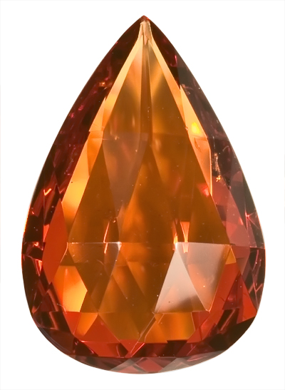 Unique, Lovely Brownish Orange Spessartite Garnet Unheated Gem, Briolette Cut, 17 x 11.6 mm, 8.67 carats
