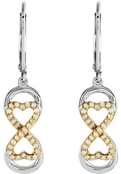 Unique Sterling Silver & Gold Plated Eternal Love Leverback Earrings With 1/5ct .90mm Diamond Accents - Choose Yellow or Rose Gold - SOLD