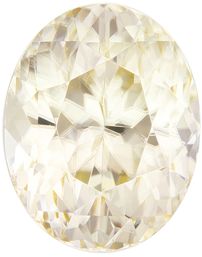 Unique Yellow Zircon Gemstone in Oval Cut, Pale Straw Yellow, 11.1 x 8.8 mm, 6.82 carats
