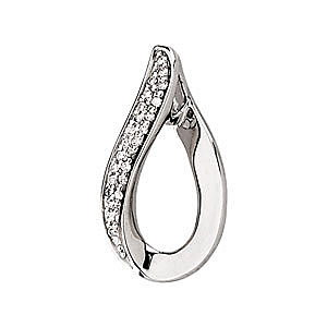 Uniquely Curved Open Pear Shaped Pendant with .17ct Pave Diamond Accents on One Side in 14k White Gold - FREE Chain
