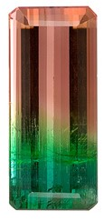 Unset Bicolor Tourmaline Gemstone, Emerald Cut, 9.43 carats, 18.6 x 8.1 mm , AfricaGems Certified - A Great Buy