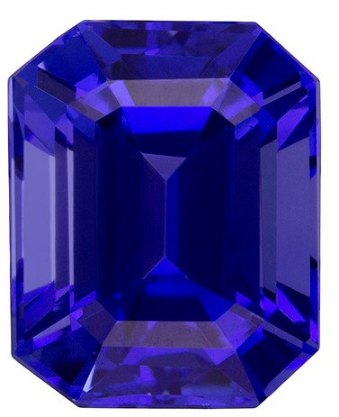 Unset Vivid Tanzanite Gemstone, Emerald Cut, 2.94 carats, 8.3 x 6.7 mm , AfricaGems Certified - Great for Studs