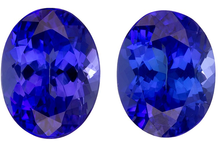 Unset Vivid Tanzanite Gemstones, Oval Cut, 4.52 carats, 9 x 7 mm Matching Pair, AfricaGems Certified - A Deal Gem