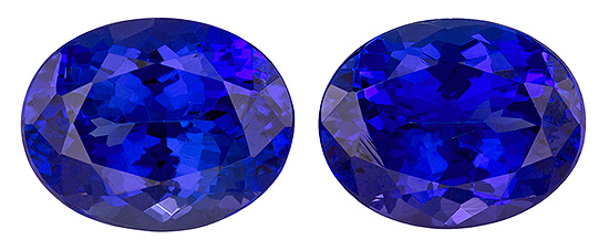 Unset Vivid Tanzanite Gemstones, Oval Cut, 4.27 carats, 9 x 7 mm Matching Pair, AfricaGems Certified - A Low Price