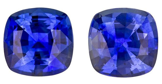 Unset Blue Sapphire Gemstones, Cushion Cut, 1.28 carats, 4.9 mm Matching Pair, AfricaGems Certified - Great for Studs