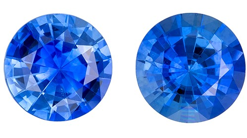 Unset Blue Sapphire Gemstones, Round Cut, 0.93 carats, 4.8 mm Matching Pair, AfricaGems Certified - A Super Gem