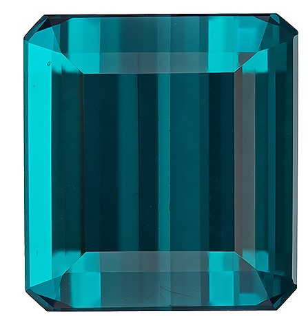 Unset Blue Tourmaline Gemstone, Emerald Cut, 7.75 carats, 11.9 x 11 mm , AfricaGems Certified - A Magnificent Gem