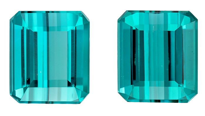 Unset Blue Tourmaline Gemstones, Emerald Cut, 4.15 carats, 7.5 x 6.4 mm Matching Pair, AfricaGems Certified - A Great Buy