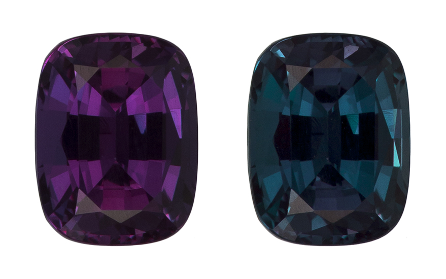 Unset Color Change Alexandrite Gemstone, Cushion Cut, 0.82 carats, 5.95 x 4.6 x 3.39 mm , GIA Certified - A Great Buy