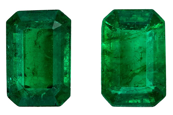 Unset Vibrant Emerald Gemstones, Emerald Cut, 0.99 carats, 5.9 x 3.9 mm Matching Pair, AfricaGems Certified - Great for Studs