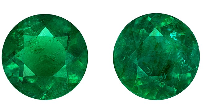 Unset Vibrant Emerald Gemstones, Round Cut, 0.85 carats, 5.2 mm Matching Pair, AfricaGems Certified - Great for Studs