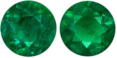 Highly Requested Emerald Gemstone Matched Pair in Round Cut, 0.85 carats, Medium Rich Green, 5.2 mm