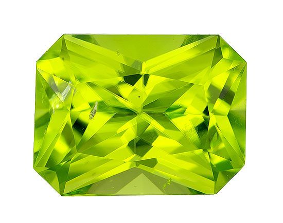 Unset Vibrant Peridot Gemstone, Radiant Cut, 2.32 carats, 9 x 7 mm , AfricaGems Certified - A Magnificent Gem