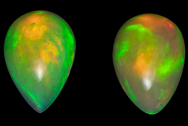 Unset Ethiopian Opal Gemstones, Pear Cut, 1.89 carats, 8.7 x 6.2 mm Matching Pair, AfricaGems Certified - A Great Buy
