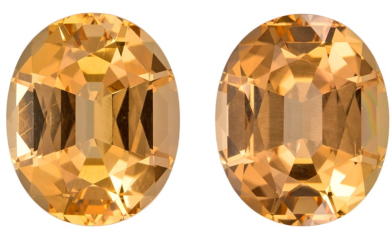 Unset Precious Topaz Gemstones, Oval Cut, 8.81 carats, 10.9 x 8.9 mm Matching Pair, AfricaGems Certified - Great for Studs