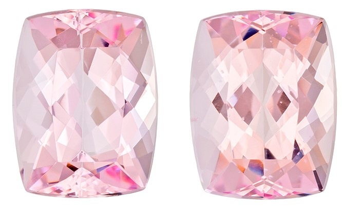 Unset Pink Morganite Gemstones, Cushion Cut, 7.06 carats, 10.8 x 8.3 mm Matching Pair, AfricaGems Certified - A Great Deal