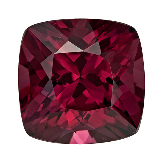 Unset Rich Rhodolite Gemstone, Cushion Cut, 6.08 carats, 10.1 mm , AfricaGems Certified - A Great Buy