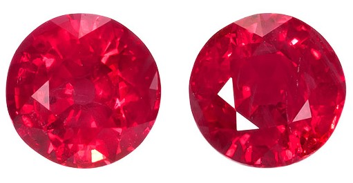 Unset Fiery Ruby Gemstones, Round Cut, 2.2 carats, 5.9 mm Matching Pair, AfricaGems Certified - A Rare Find!