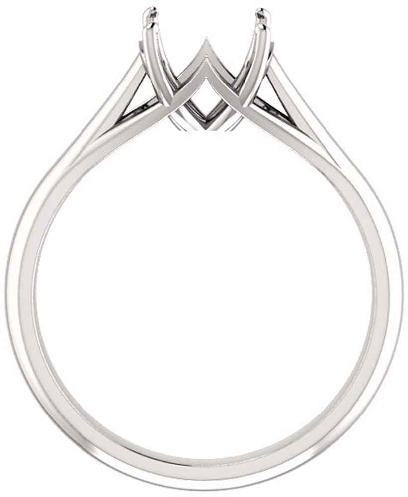 Unset Ring Mounting in 14 Karat White Gold for Cushion Shape Gemstone Sized 7.00 mm, Ring Size 7