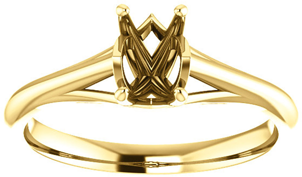 Unset Ring Mounting in 14 Karat Yellow Gold for Emerald/Octagon Shape Gemstone Sized 6.00 x 4.00 mm, Ring Size 5