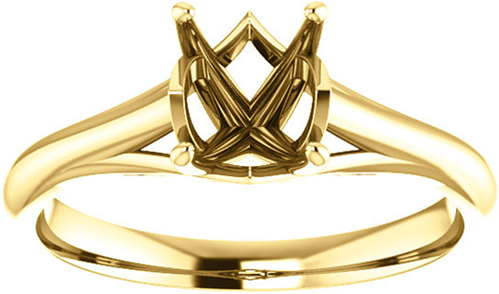 Unset Ring Mounting in 14 Karat Yellow Gold for Oval Gemstone Sized 8.00 x 6.00 mm, Ring Size 8