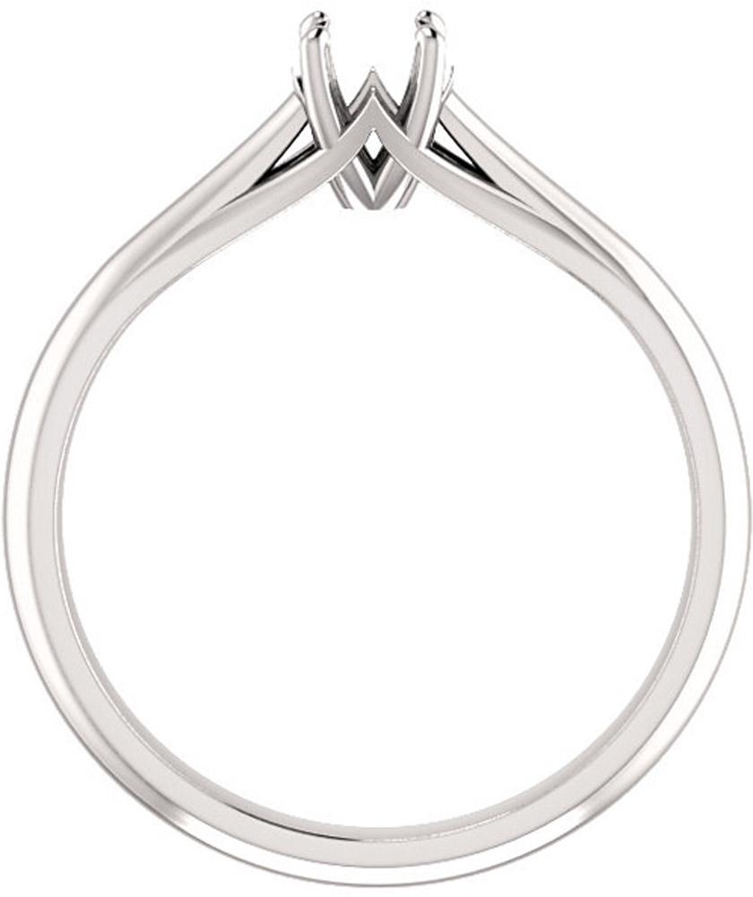 Unset Ring Mounting in 14kt White Gold for Round Gemstone Sized 4.40 mm, Ring Size 6