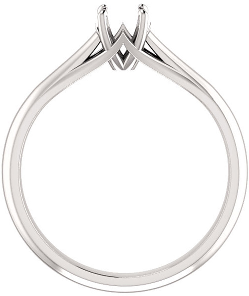 Unset Ring Mounting in 14kt White Gold for Round Gemstone Sized 4.40 mm, Ring Size 7