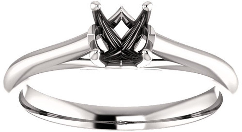 Unset Ring Mounting in 14kt White Gold for Round Gemstone Sized 5.20 mm, Ring Size 6