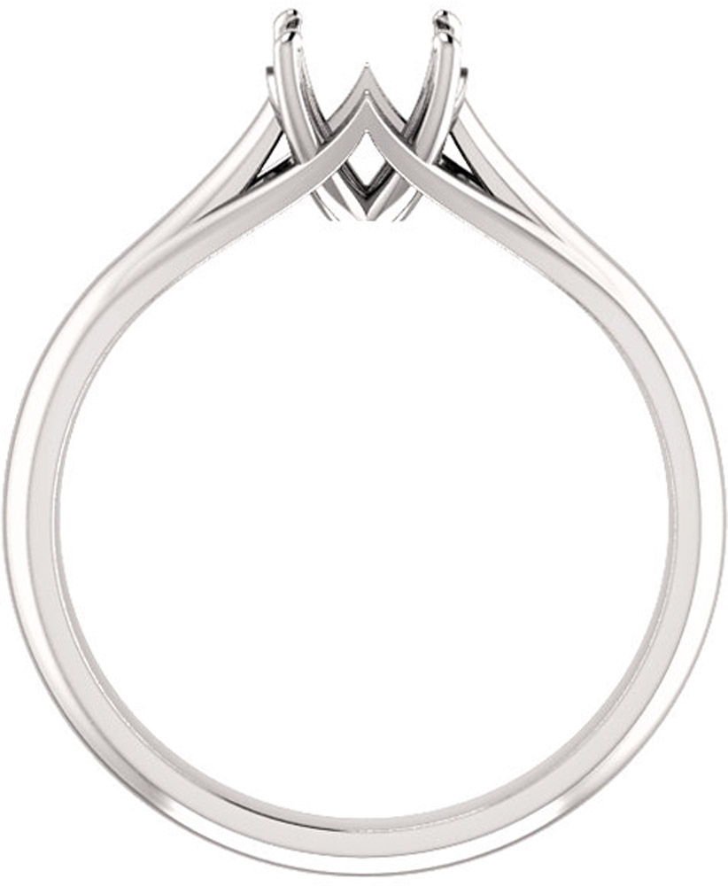 Unset Ring Mounting in 14kt White Gold for Round Gemstone Sized 6.00 mm, Ring Size 5