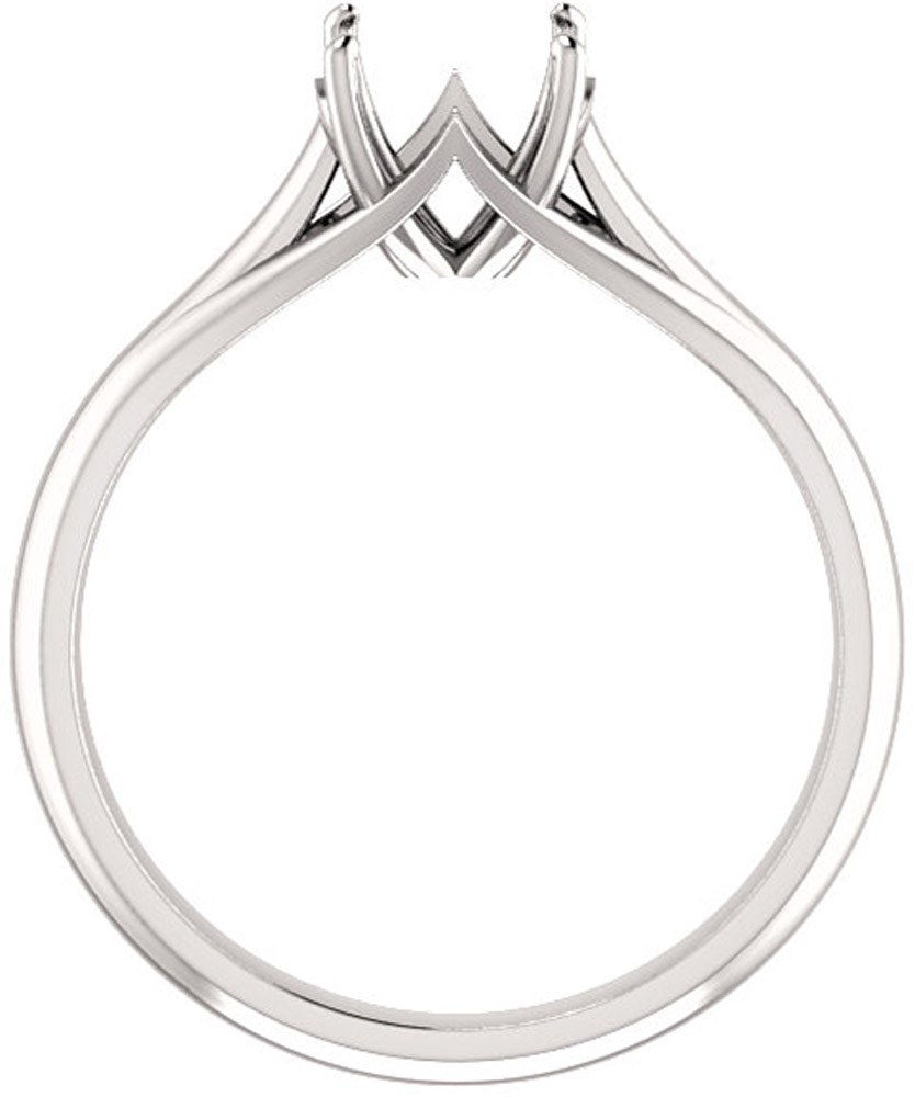 Unset Ring Mounting in 14kt White Gold for Round Gemstone Sized 7.00 mm, Ring Size 5