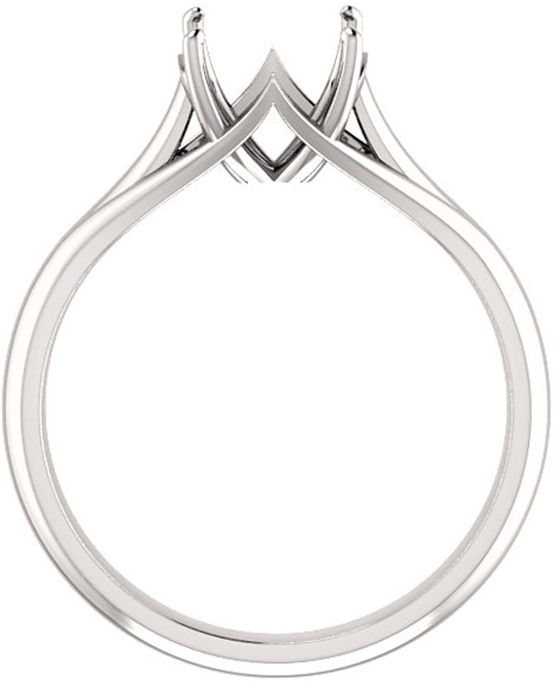 Unset Ring Mounting in 14kt White Gold for Round Gemstone Sized 8.00 mm, Ring Size 7