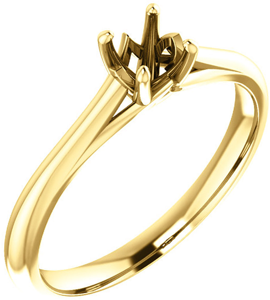 Unset Ring Mounting in 14kt Yellow Gold for Round Gemstone Sized 4.40 mm, Ring Size 6