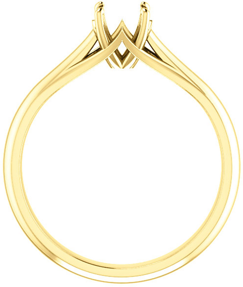 Unset Ring Mounting in 14kt Yellow Gold for Round Gemstone Sized 5.20 mm, Ring Size 8