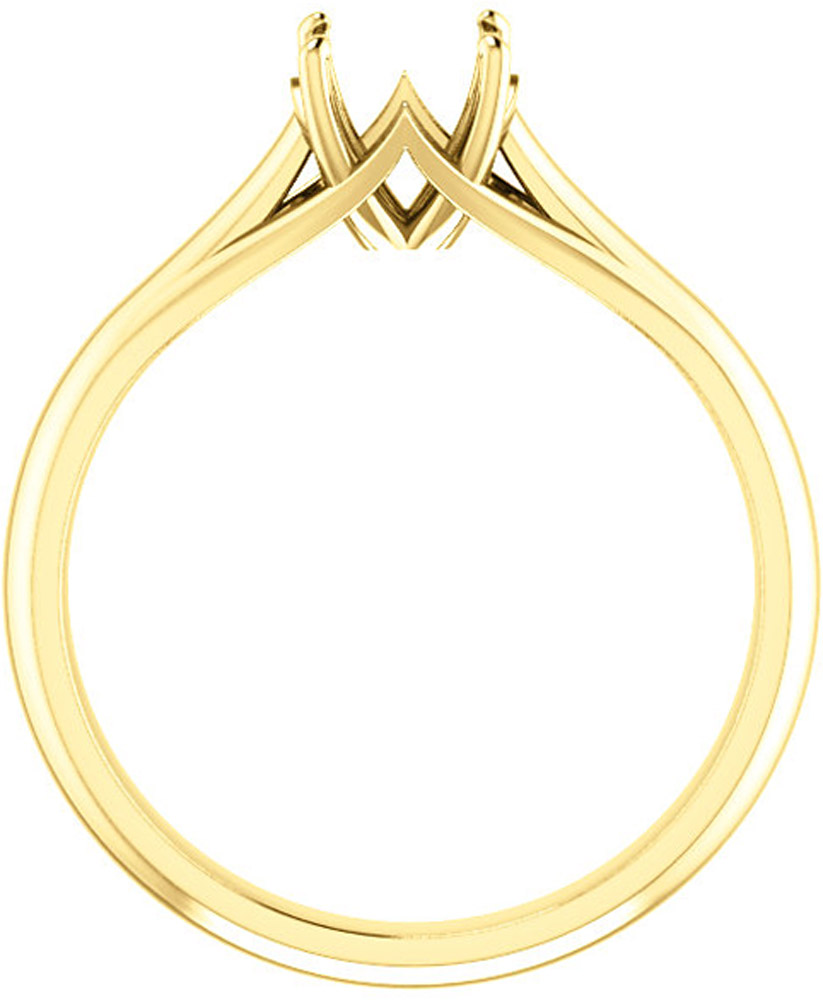 Unset Ring Mounting in 14kt Yellow Gold for Round Gemstone Sized 6.00 mm, Ring Size 8