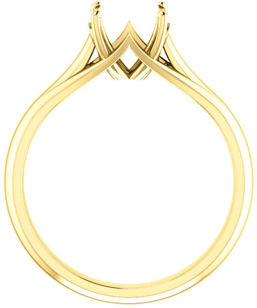 Unset Ring Mounting in 14kt Yellow Gold for Round Gemstone Sized 7.40 mm, Ring Size 6