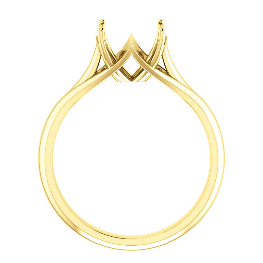 Unset Ring Mounting in 14kt Yellow Gold for Round Gemstone Sized 9.00 mm, Ring Size 7