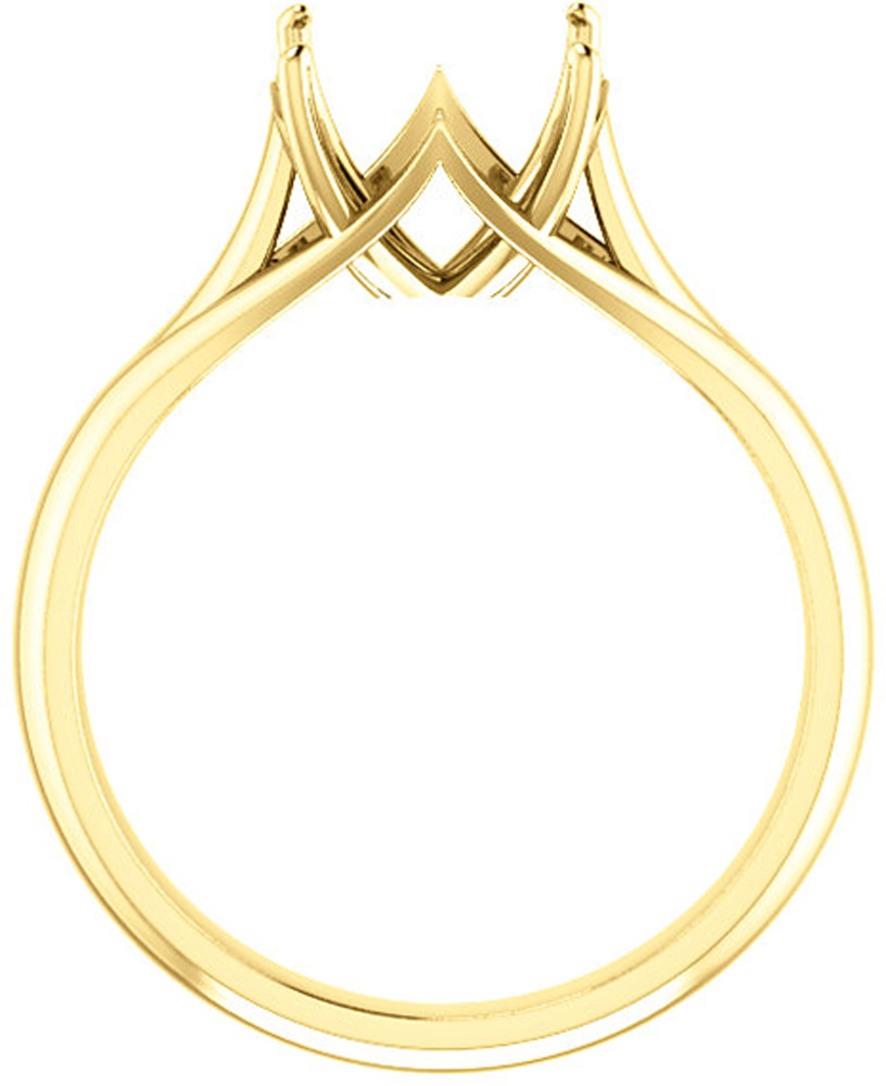 Unset Ring Mounting in 14kt Yellow Gold for Round Gemstone Sized 9.40 mm, Ring Size 5