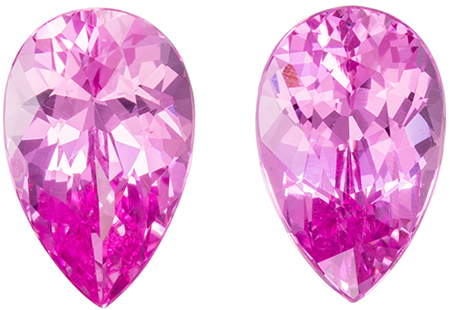 Untreated 1.6 carats Pink Spinel Well Matched Gem Pair in Pear Cut, Vivid Pink, 7.4 x 4.8 mm