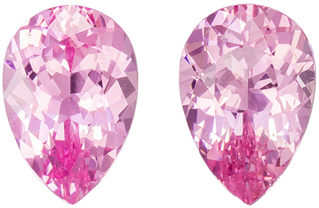 Untreated 1.91 carats Pink Spinel 2 Piece Matched Pair in Pear Cut, Light Pure Pink, 7.5 x 5.1 mm