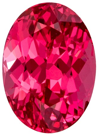 Untreated 6.7 x 4.8 mm Pink Spinel Genuine Gemstone in Oval Cut, Neon Reddish Pink, 1.06 carats