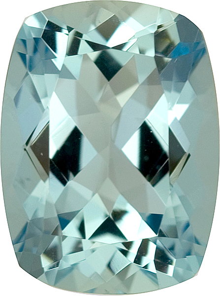 Untreated Well Cut Antique Cushion Nice Greenish Blue Aquamarine, 14.1 x 11.0 mm, 6.77 carats